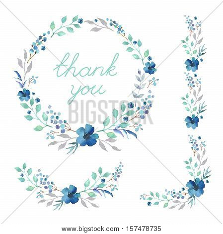 Floral Frame Collection. Set of cute retro flowers arranged a shape of the wreath perfect for wedding invitations and birthday cards