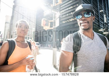 Couple of lovers in New York sightseeing the city
