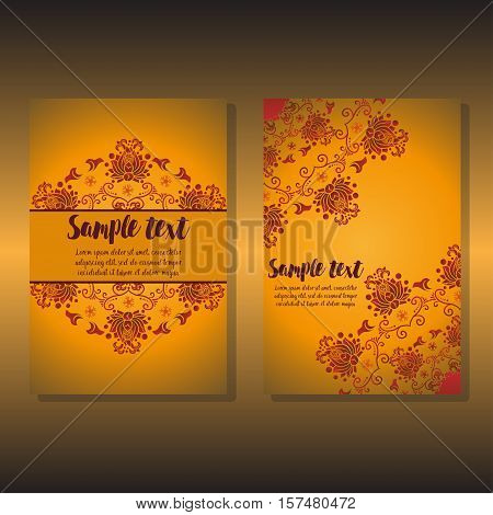 Card two design holiday Day. design of warm floral card. Design for invitation card, wedding, stickers, greeting. for Happy Thanksgiving, merry christmas, new year