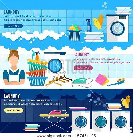 Laundry service banner laundry room with facilities for washing clothes laundry staff washing machine