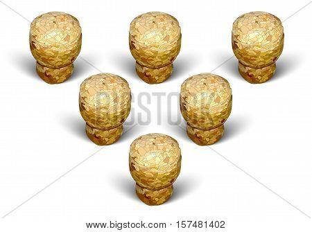 champagne cork pyramid formation white background macro