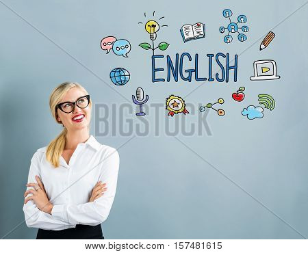English Text With Business Woman