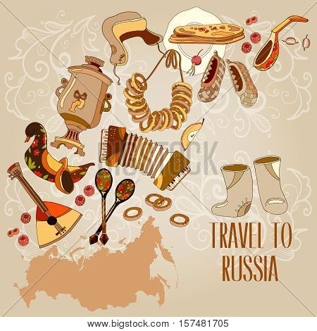 Welcome to Russia. Traditional Russian cuisine and culture. Traveling design. Russia map vector