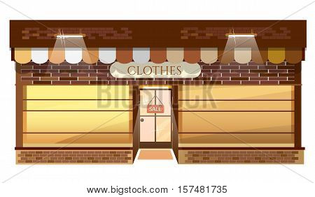 Facade of clothing shop building fashion boutique store vector illustration