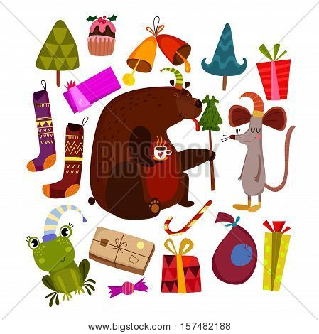 Merry Christmas And Happy New Year Card With Bear,mouse, Frog And Holiday Symbols. Stylish Holiday S