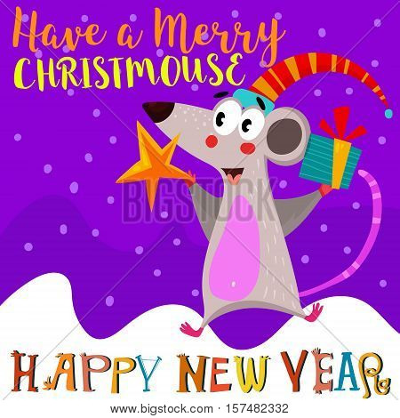 Have A Merry Christmas And Happy New Year Card With Cute Christmas Mouse - Stock Vector