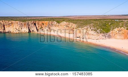 Aerial from natural rocks near Sagres in Portugal