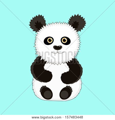 Funny Panda sitting on his ass. Hand-drawn illustration. Vector image.