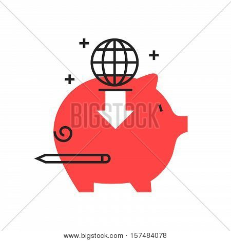 Color Box Icon, Global Investment Concept