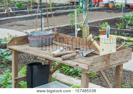 Allotments with garden tools in a greenhouse in the Netherlands