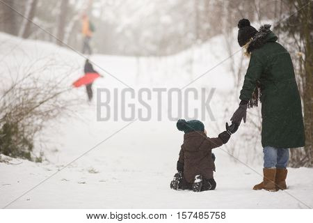 Mother and little toddler boy walking in the winter forest and having fun with snow. Family enjoying winter. Child and woman watching falling snow outdoors. Winter Christmas and lifestyle concept.