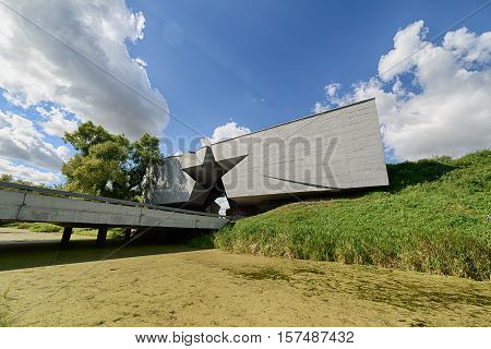 BREST, BELARUS - AUGUST 30, 2016: The main entrance of the Brest Fortress. Brest Fortress the first to receive the blow during the attack of the German troops on the Soviet Union