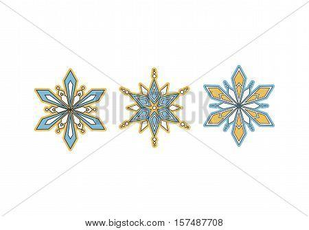 Vector set icons. Decorative winter snowflake