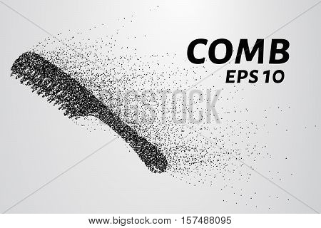 Comb from the particles. Comb composed of dots and circles. Vector illustration.