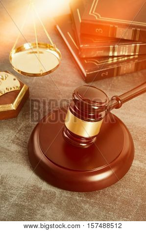 Gavel With Books On Grunge Background