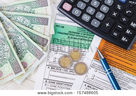 Polish Tax Form With Cash