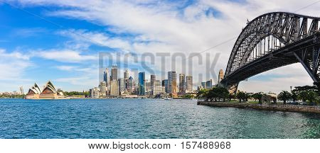 SYDNEY, AUSTRALIA - AUGUST 29, 2012: View of the Opera House the Harbour Bridge and the Central Business District from Kirribilli in Sydney Australia