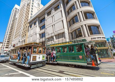 San Francisco, California, United States - August 17, 2016: the Cable Car Powell-Hyde and Powell-Mason lines Lines meet in Union Square area, a popular shopping district.