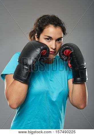 Latino Female Boxer In Stance