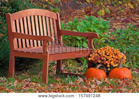 A photo of two pumpkins and a golden mum sitting next to a wooden garden bench sprinkled with fallen leaves