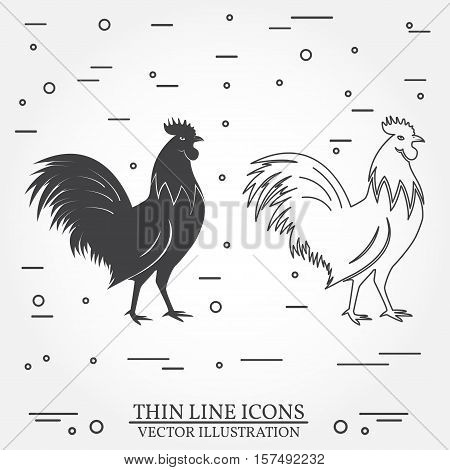 Set of rooster icons. Set include thin line cock and silhouette rooster. Cockerel or chicken on the white background. For logo design, patches, seal, logo or badges. Symbol of 2017 on the Chinese calendar.