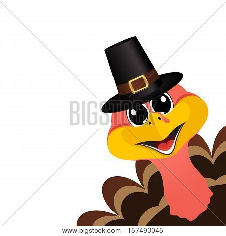 Turkey Pilgrimin hat on Thanksgiving Day, vector illustration