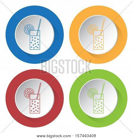 Set of four round colored buttons and icons. Glass with carbonated drink straw and citrus.