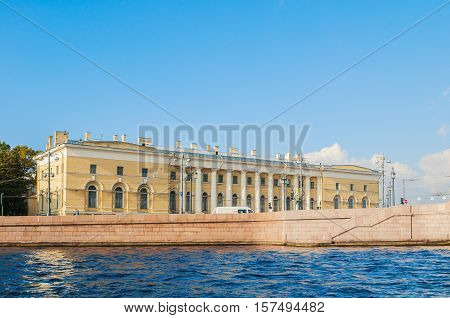 ST PETERSBURG RUSSIA - OCTOBER 3 2016. St Petersburg landmark of Vasilievsky island spit - building of Zoological Museum former South Exchange Warehouse in St Petersburg Russia