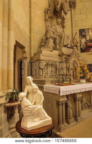 Saint-Laurent-sur-Sevre France - September 10 2016: Interior Chapel Of The Convent Of The Daughters Of Wisdom in Saint-Laurent-sur-Sevre in the department of Vendee in the Pays de la Loire region in France.