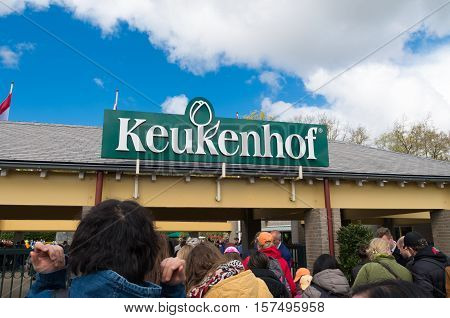 LISSE NETHERLANDS - APRIL 17 2016: Unknown tourists waiting to get inside the famous Keukenhof tulip garden in the netherlands