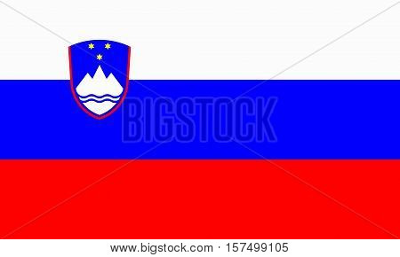 flat slovenian flag in the colors red, blue and white