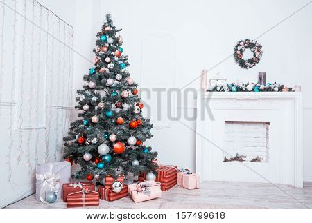 Beautiful New Year Room With Decorated Christmas Tree, Gifts And Fireplace. The Idea For Postcards.