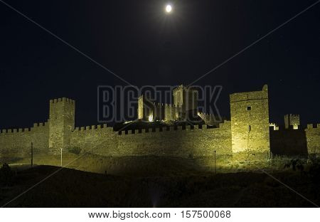 The ruins of the Genoese fortress at night. Sudak Crimea.