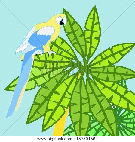 Hawaii Palm And Parrot Caribbean Gold Vector Illustration