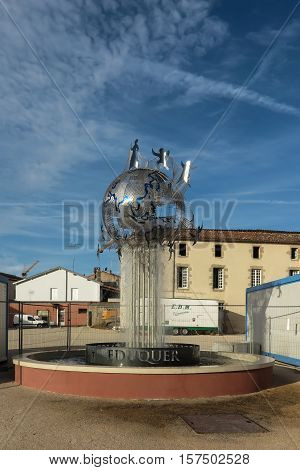 Saint-Laurent-sur-Sevre France - September 10 2016: Memorial fountain a symbol of the Congregation Brothers of St. Gabriel and the Montfortian Fathers and their missionary activity in the world.
