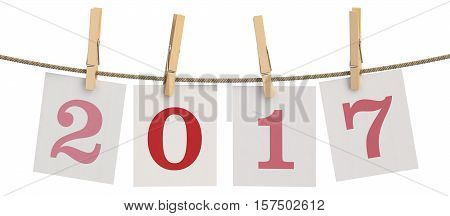 2017 Concept. Cards with clothespins 3D rendering isolated on white background