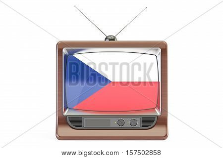 TV set with flag of Czech Republic. Television concept 3D rendering