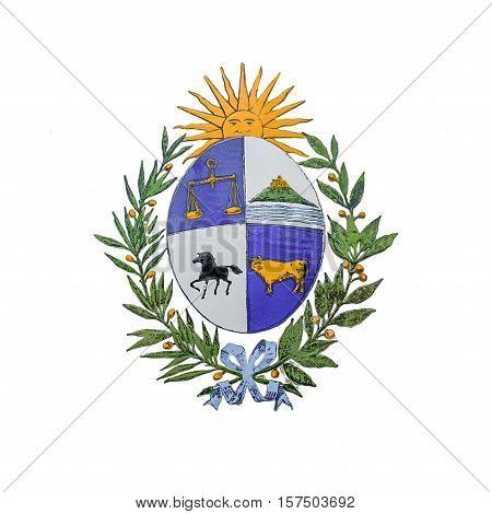 Uruguayan national shield photo isolated on white background