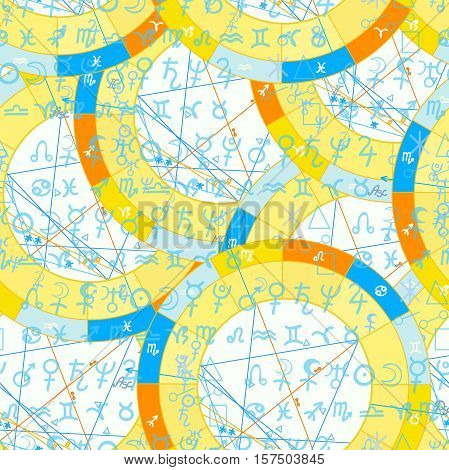 Seamless Pattern Natal Astrological Chart, Zodiac Signs. Vector Illustration