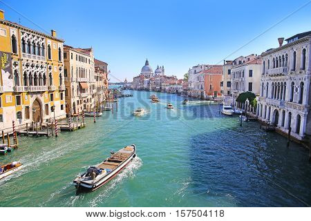Venice, Italy - October 12, 2016: View of Grand Canal in Venice, Italy