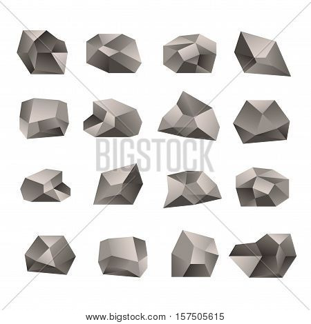 Set Of Triangular Stones Illustration On The White Background. Polygon Stone Or Poly Rock Icons. Vec