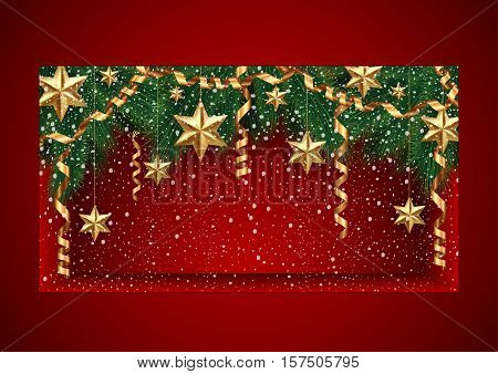 Illustration of Christmas showcase template decorated with fir tree branches gold stars paper streamers and snow