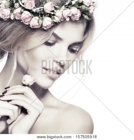 Photos from bleaching toning Beautiful young girl with a chaplet from roses in hairs, emotions, cosmetics. Isolated on white  background