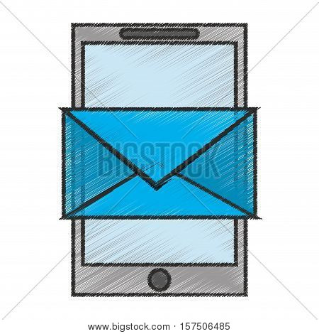 Envelope snd smartphone icon. Email mail message letter and marketing theme. Isolated design. Vector illustration