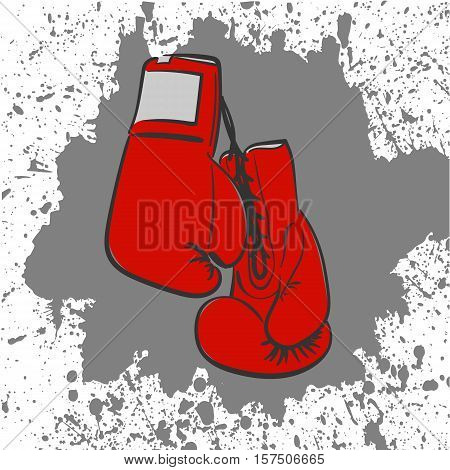 two red boxing gloves laced related freehand drawing