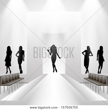 Illustration of fashion show rehearsal with female silhouettes on catwalk background