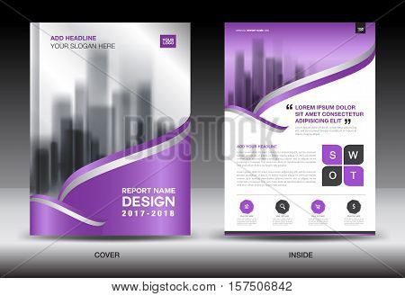 Purple Cover Annual report brochure flyer template creative design, cover design, cover and inside page layout, infographics vector