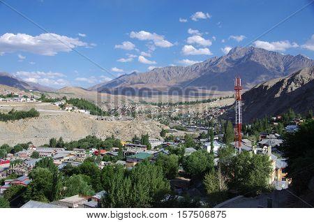 The city of Kargil in Ladakh, India