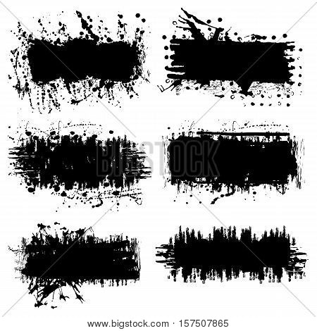 Vector set of 6 splash black brush strokes or banners. Grunge easy editable isolated elements for your design. Freehand. Watercolor splash. Monochrome acrylic stamp.Space for text.