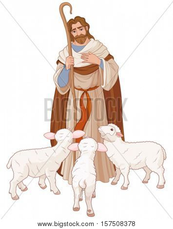 Illustration of Jesus Christ is the good shepherd